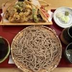 香季清流庵 - 天せいろ1200円、十割新蕎麦です。