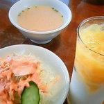 5761278 - サラダ・スープ・マンゴーラッシー