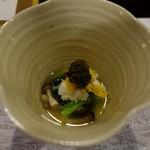 明日香 - (2016/9月)先付:菊菜浸し かに身 椎茸 揚げ子芋 胡麻クリーム とんぶり