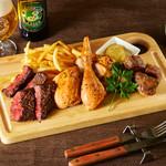 ルコックロティ - 【3種の肉盛り】ロティサリーチキン・ハラミステーキ・豚ほほ肉のコンフィ