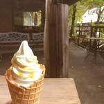 カフェグランド - ソフトクリームにラム酒シロップをトッピング 370円