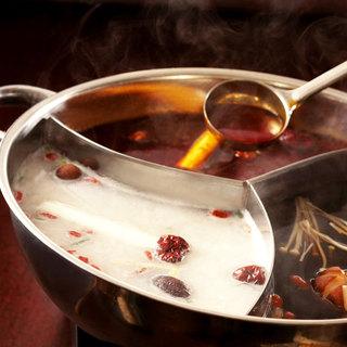 中国の漢方医療を基に作った、一度に3種の味が楽しめる薬膳火鍋