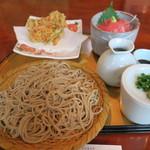 手打ちそば 石庄庵 - 桜エビかき揚げせいろと本鮪丼セット1,800円也