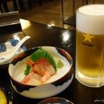 ホテル隠岐 - 2016年8月 1泊2食付きの夕食の一部。まずはぷは~(´▽`)っと一杯!