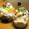 デュプレいしい - 料理写真:フルーツパフェ380円、バナナとナッツのパフェ460円