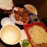 57707159 - 極上山椒まみれ鶏の唐揚げ定食(冷うどん/細麺)