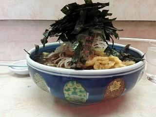 立ち食いそば はせ川 - 花巻そば大盛¥540+いか天¥130 ホリゾンタルアングル