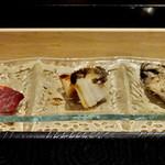57721660 - 三種盛り 鯨ベーコン 煮アワビ 牡蠣のオイル漬け
