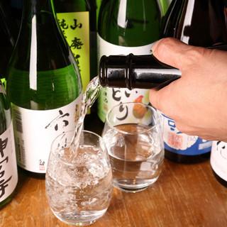秋田の地酒が常時10~15種