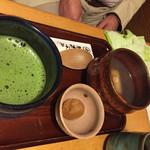 甘味喫茶 おかげ庵 - 2016.10.16 ⑥甘味とドリンクセット ぜんざいと抹茶 780円