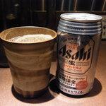 麺屋武蔵 武仁 - ビールはスーパードライの缶^^;