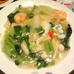 青龍門 - コースの海鮮あんかけ炒飯です