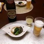 さかい - 先ずは瓶ビール(食前酒とお通し)