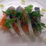 カンブーザ - 松輪鯖のマリネ レフォールのソース 有機人参とエルバミスタ