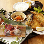 そば天 - 料理写真:漁師定食1320- 刺身+フライ+魚料理