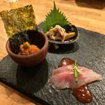 若狭 - 若狭(東京都目黒区東山)若狭・客膳〜お刺身とキムチの三種盛り