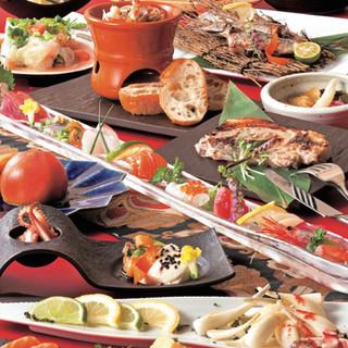 全国各地の旬食材と九州の良き食材を使用した創作料理!