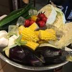 鹿児島県霧島市 塚田農場 - お通しの生野菜 ここから3種選びます