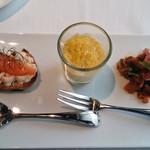 57825076 - アミューズ                       ラタトゥイユ、コーンの冷製スープ、サーモンのカナッペ