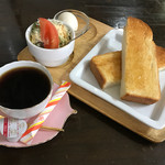 ひまわりカフェ - 料理写真:モーニングセットC(ハニートーストセット)450円(税込)