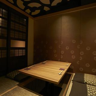 完全個室がメインのお席配置です。