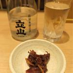 白えび亭 - 201610 お酒(立山) 500円。お通し付き