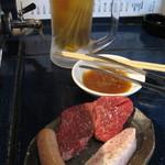 立食焼肉 一穂 - 福島バル2016秋・イチボ2枚、ウインナー、豚トロ +ドリンク