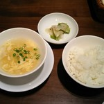 57841727 - ビーフンランチ:白飯、スープ、ザーサイ