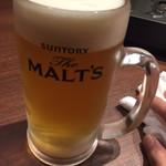 九州料理 薩摩太鼓 - 生ビール   ざモルツ
