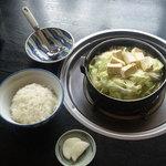 玉山支所前食堂 - ホルモン鍋(1人前)&ご飯(普通)