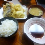 天ぷら 天八 - 料理写真:天ぷら定食(6品) 2016.10月
