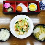 57862630 - 豆腐ちゃんぷるー•サーターアンダギー•もずく•沖縄そば•フルーツ•ご飯