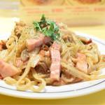 関谷スパゲティ - ポルチーニ生麺のキノコとドライトマトのスパゲティ@税込850円。キノコが薫る♪