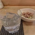 北悠 - 焼酎「まろやか芋」とお通し「マグロ」