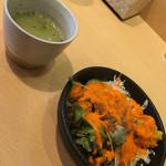 57878846 - ブロッコリーのスープとサラダ