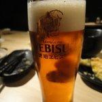 """月島三丁目うどん店 - 生ビールは""""琥珀エビス""""です!"""