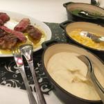 バロン ザ ステーキ - 付け合せ ・マッシュポテト ・コーン ・ほうれん草
