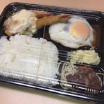 ジンロック - ハンバーグ・エビフライ+目玉焼き(¥950+100)