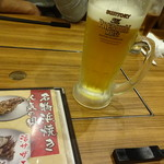 浜焼きしんちゃん - 生ビール これで中です480円 烏龍茶は250円