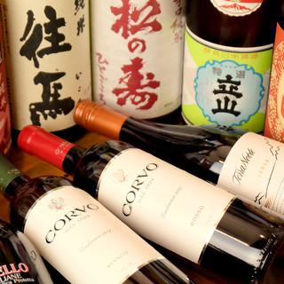 こだわりの日本酒に焼酎、ワインも。