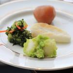 ウェスティンホテル仙台 - 宮城山形コーナーより  ずんだ白玉、おみ漬け、笹かまぼこ、玉こんにゃく