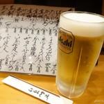 でんすけ - 2016年8月 生ビール【450円】まずはビールでゆっくりとメニューを拝見~