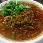 四川担担麺 阿吽 - 香菜(パクチー)増し、別皿提供なので、キレイに配置させます。