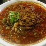 四川担担麺 阿吽 - 黒胡麻担担麺の肉増し5辛、花椒5です。