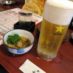 57940480 - 生ビール_380円(税別、以下同じ)と一ノ蔵冷酒とお通し