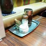 蘭亭ぽん多 - テーブル上調味料 辛子、塩、ソース