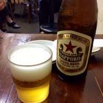 餃子屋 満園 - 「瓶ビール」(450円)。メニューに瓶のサイズ表示がないのはNGだ。実際には中瓶だった。