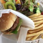 Burgers Cafe Pon Pon - 肉バーガー(ポテト・サラダ・フルーツ・スープ付き)