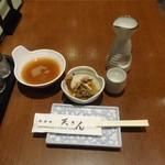 和食処 天きん - 夜の日本酒1合350円、お通し200円