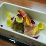Kakouokamoto - 向付:赤足海老、とんぶり、新銀杏